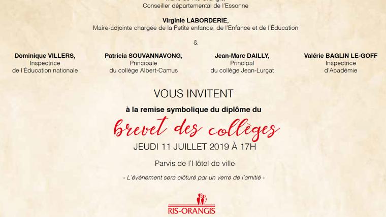 Ris-Orangis : Invitation à la remise du brevet des collèges