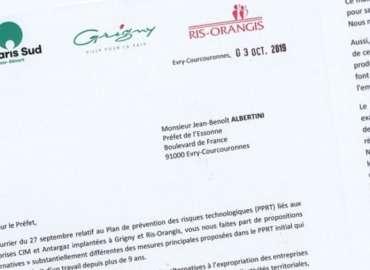 Lettre à M. Le Préfet de l'Essonne : demande réitérée de procéder au départ des dépôts de gaz liquéfiés de la société Antargaz à Ris-Orangis
