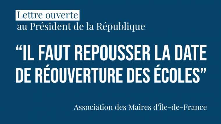 Lettre ouverte : 316 Maires d'Île-de-France ne porteront pas la responsabilité de l'Etat dans une réouverture prématurée des écoles