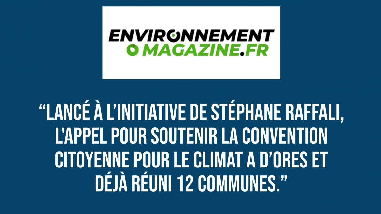 Environnement Magazine : Des communes lancent un appel pour soutenir la Convention citoyenne pour le climat