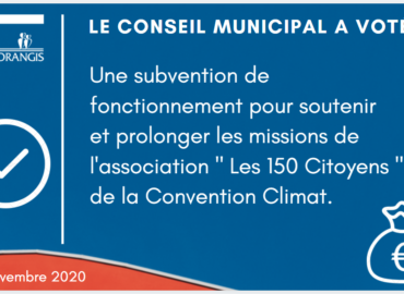 """Ris-Orangis : Le Conseil municipal vote à l'unanimité une subvention de fonctionnement pour soutenir l'association """"Les 150 Citoyens de la Convention Climat"""""""
