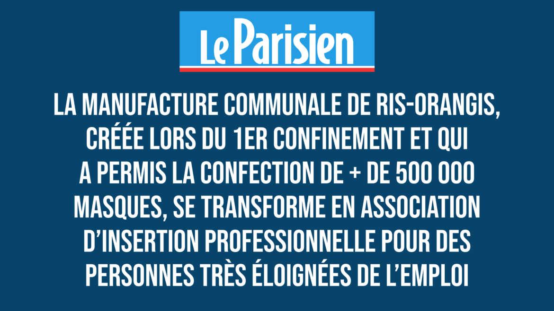 Le Parisien : des masques «made in Ris-Orangis» fabriqués par des personnes en réinsertion